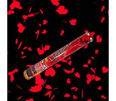 Хлопушка красные сердца 40 см